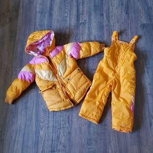 London Fog Children's Orange Pink Snow Suit Set